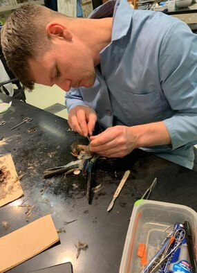 Man in lab coat with bird.