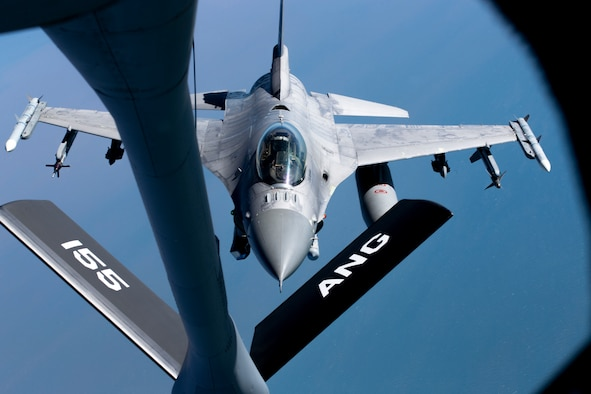 A U.S. Air Force F-16C Falcon from the 96th Test Wing prepares for in-flight refueling from a 155th Air Refueling Wing KC-135 Stratotanker during exercise Emerald Flag over the Gulf of Mexico, Dec. 3, 2020. More than 25 agencies participated in the exercise, hosted at Eglin Air Force Base, Fla. Emerald Flag combined ground, space, cyber, and air platforms for joint test and experimentation.