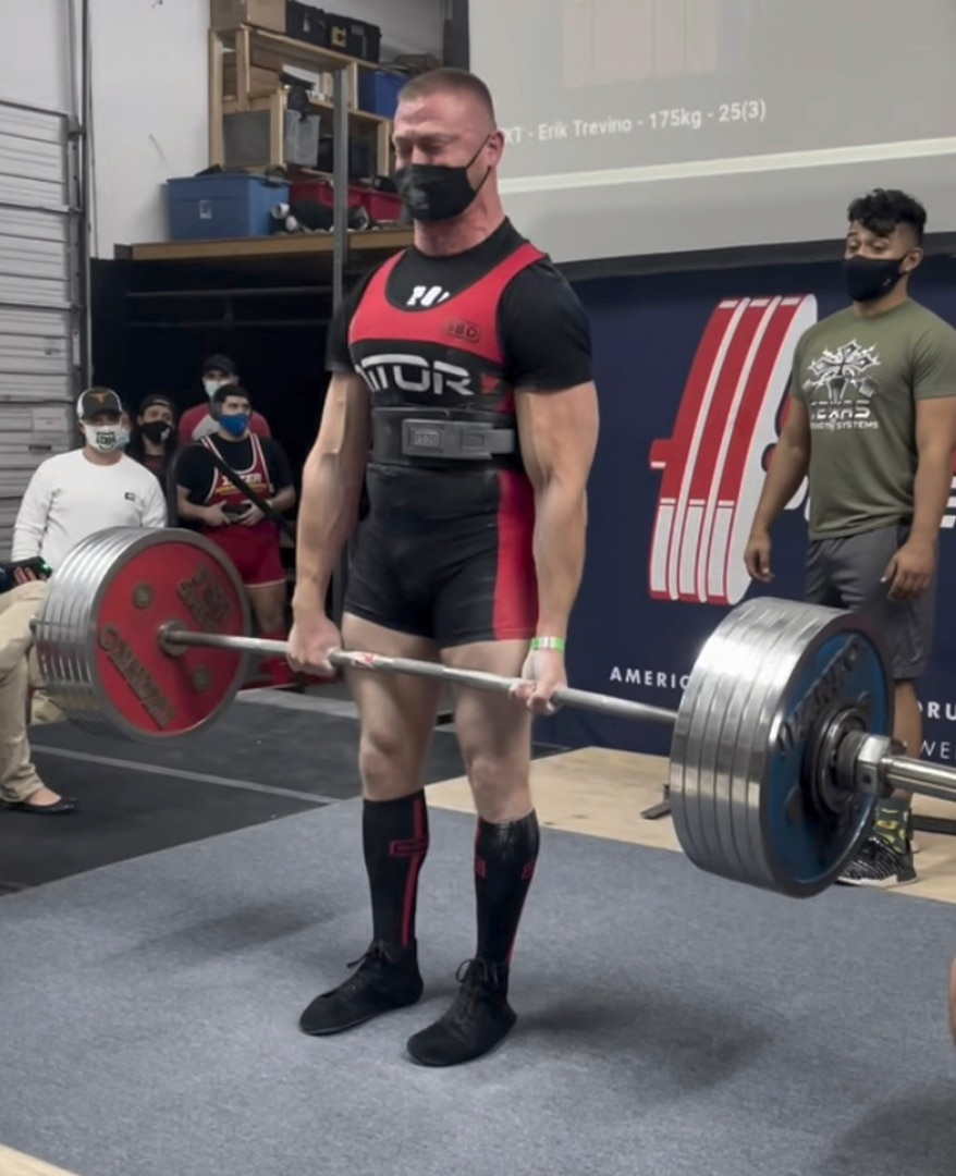 Senior Master Sgt. Michael Lear, Air Force Recruiting Service Strategic Marketing Division superintendent, broke the Texas Deadlift state record previously set at 705 pounds by pulling 733 pounds in the 93kg weight class.