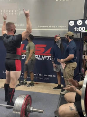 Senior Master Sgt. Michael Lear, Air Force Recruiting Service Strategic Marketing Division superintendent, celebrated breaking the Texas Deadlift state record previously set at 705 pounds by pulling 733 pounds in the 93kg weight class.