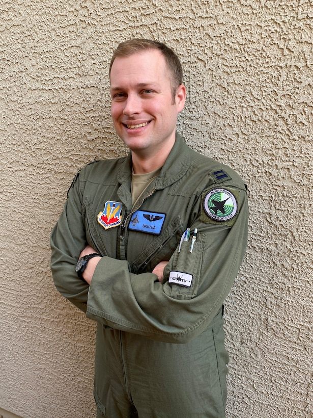 "U.S. Air Force Capt. Aaron ""Brutus"" Tindall, 390th Electronic Combat Squadron EA-18G weapons officer, poses for a photo, Jan. 4, 2020, at Las Vegas, Nevada. Tindall shares his knowledge about EA-18G Growler and Airborne Electronic Attack at Nellis AFB."