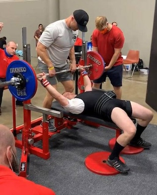Master Sgt. Daniel Bedford, Air Force Recruiting Service National Events program manager, prepares to pump up a gold medal lift in the bench press during the USPA (United State Powerlifting Association) 2020 Texas State Bench Press Championship.