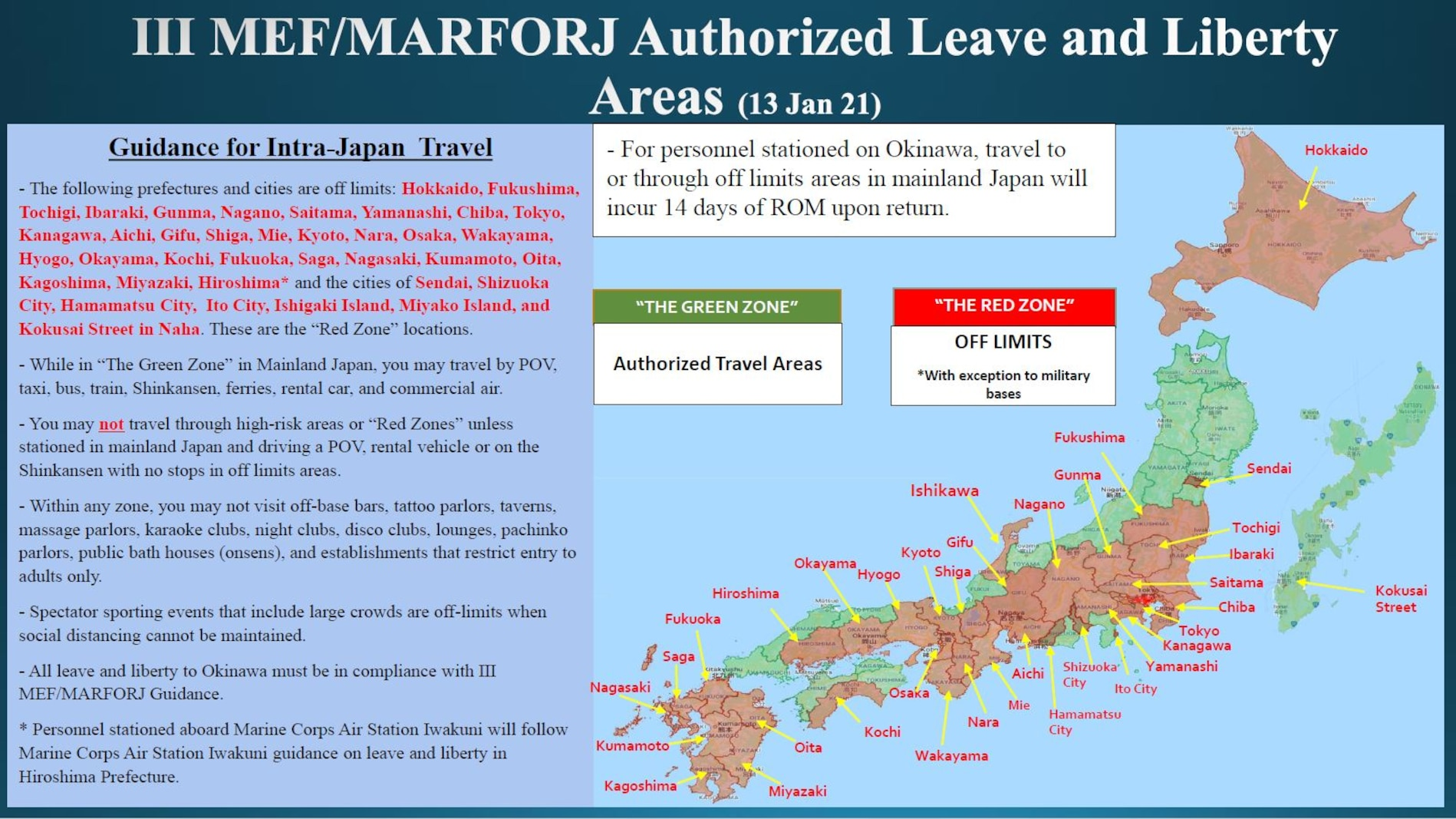 III MEF/MARFORJ Authorized Leave and Liberty Areas (13 Jan 21)