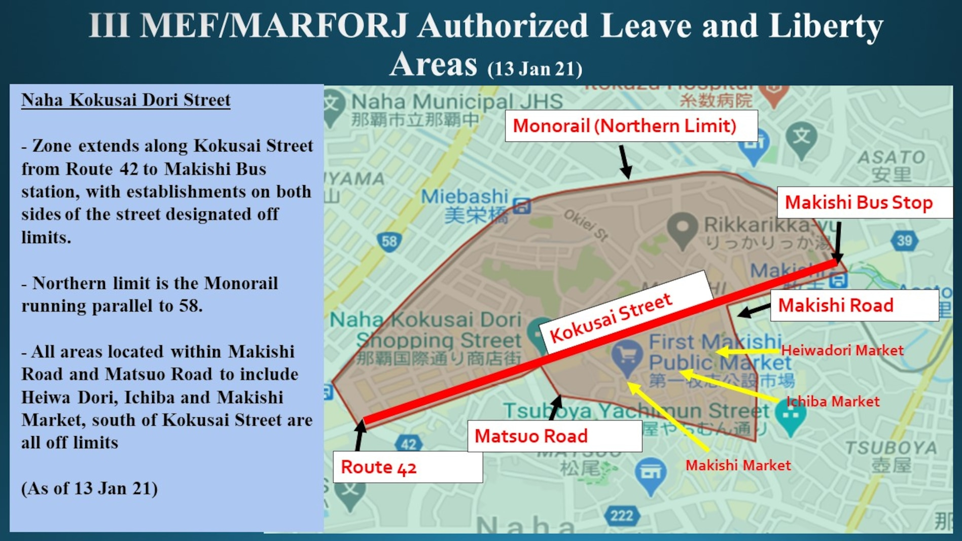 III MEF/MARFORJ Authorized Leave and Liberty Areas (13 January 21)