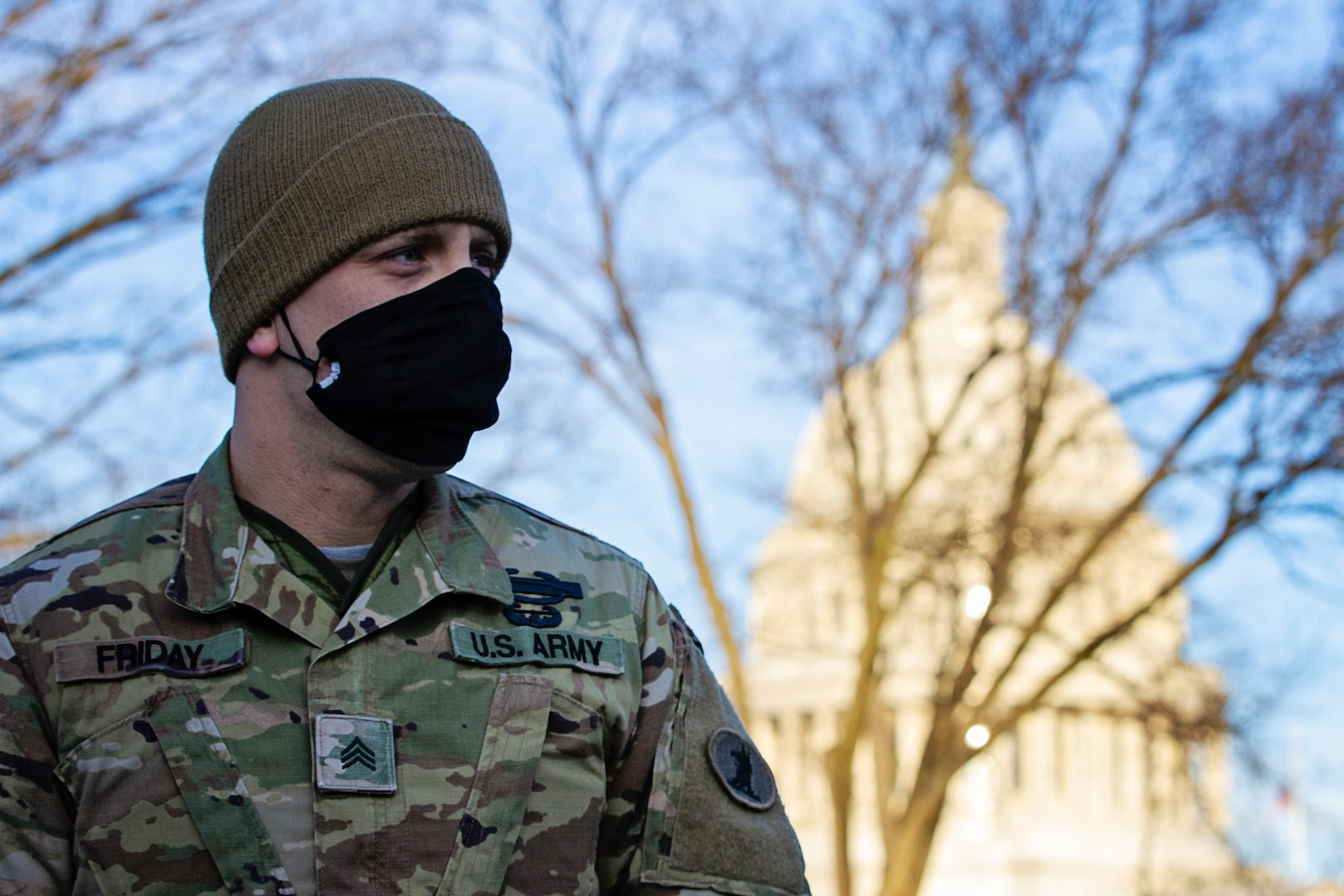 A member of the Delaware National Guard stands watch near the U.S. Capitol in Washington, D.C., Jan. 9, 2021. National Guard Soldiers and Airmen from several other states have traveled to the District of Columbia to support federal and D.C. authorities leading up to the 59th presidential inauguration.
