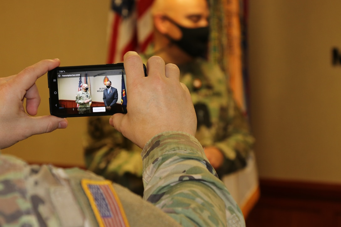 63d RD's civilian CoS receives award during unit's first Virtual Battle Assembly in 2021