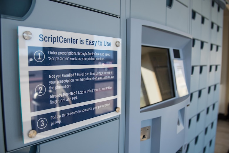 McConnell Air Force Base, Kansas, is the first base to install the newest version of ScriptCenter as of December 2020. The machine allows all active duty, retirees and dependents to pick up prescription refills 24/7. (U.S. Air Force photo by Senior Airman Alexi Bosarge)