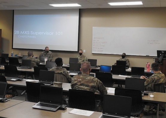 28th Maintenance Squadron Airmen participate in a chief's panel during a Supervisor 101 course at Ellsworth Air Force Base, S.D., Dec. 7, 2020. Supervisor 101 is a four-day course designed to bridge the gap between the broad scope of leadership taught in Airman Leadership School (ALS) and the narrow scope of supervisory skills necessary to guide maintenance Airmen. (Courtesy photo)