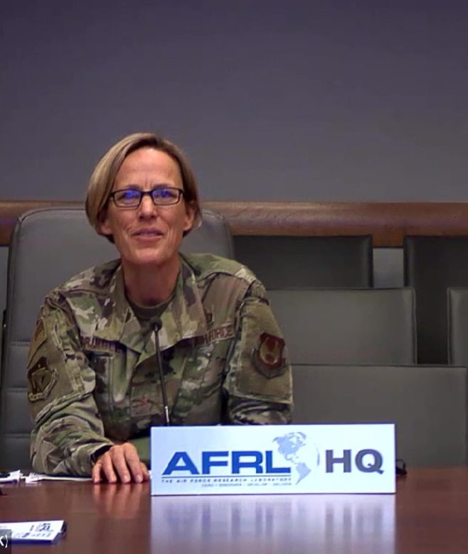 Brig. Gen. Heather L. Pringle, commander of the Air Force Research Laboratory, speaks with reporters during a virtual media roundtable event held during the Air Force Association's Air, Space and Cyber Conference Sept. 16, 2020. (Courtesy photo)
