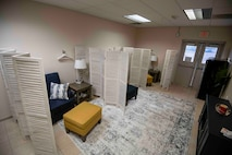 The new mother's room can fit up to three mothers at a time while adhering to social distancing and also meets the mandated requirements for the Air Force's requirement of lactation rooms for nursing mothers.