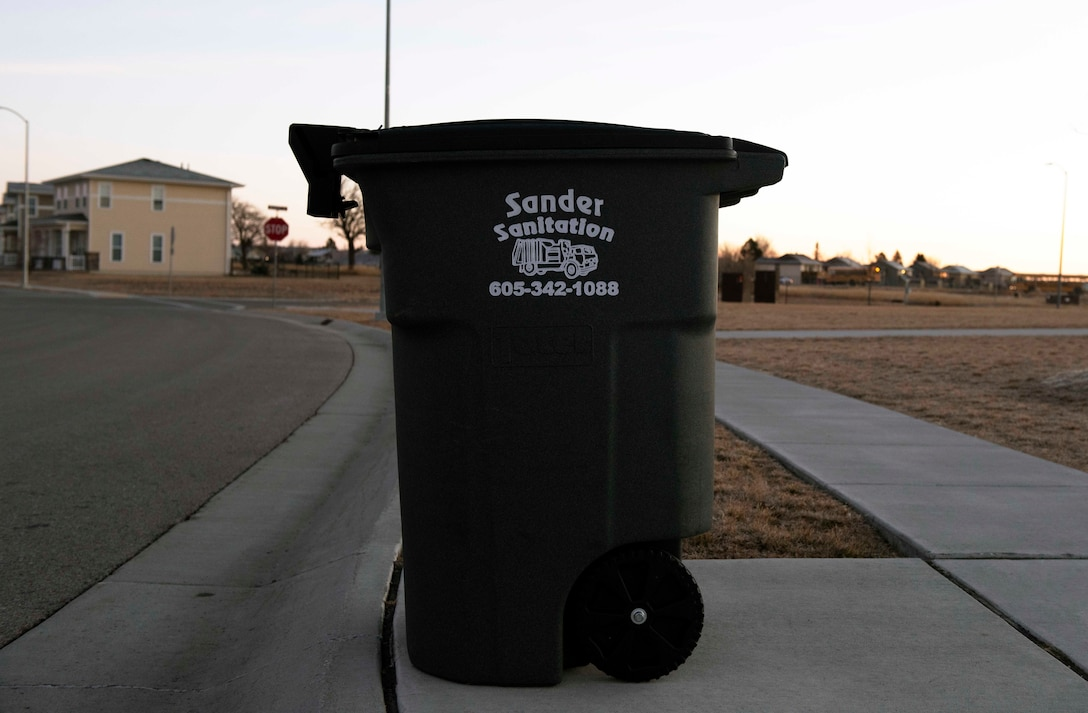 A trash can equipped with the Gust device is being tested at Ellsworth Air Force Base, S.D., Jan. 7, 2021.