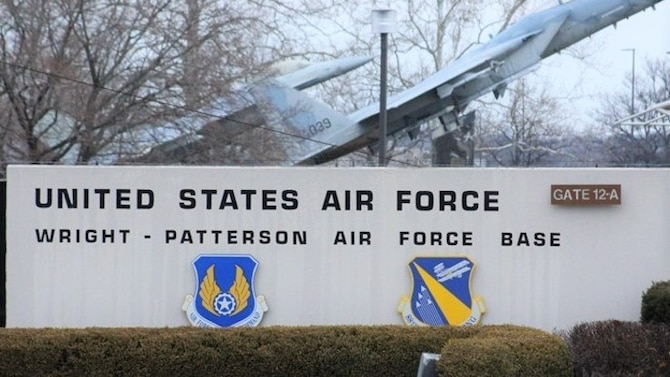 Wright-Patterson Air Force Base, Ohio, gate. (U.S. Air Force photo)