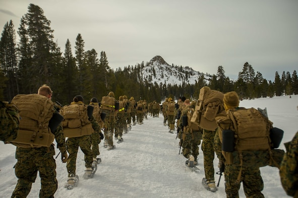 Image of Marines hiking through the snow in the mountains.