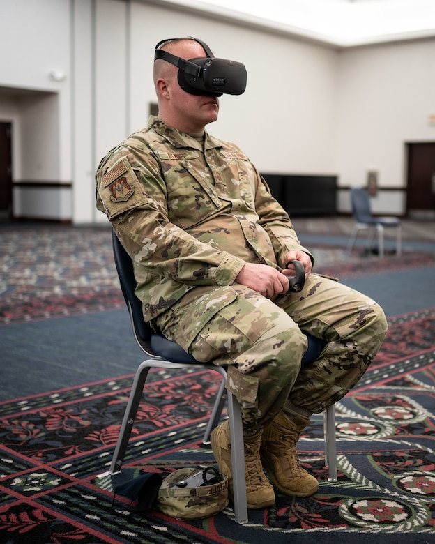 Chief Master Sgt. Anthony Bekoff, 375th Mission Support Group, is one of the first to receive a new suicide prevention training using a virtual reality-based initiative that Air Mobility Command is testing on behalf of the Air Force. Scott AFB is one of two test bases that will provide feedback, and Bekoff said that he thinks Airmen will find this training interesting and useful. (U.S. Air Force photo by 1st Lt. Sam Eckholm)