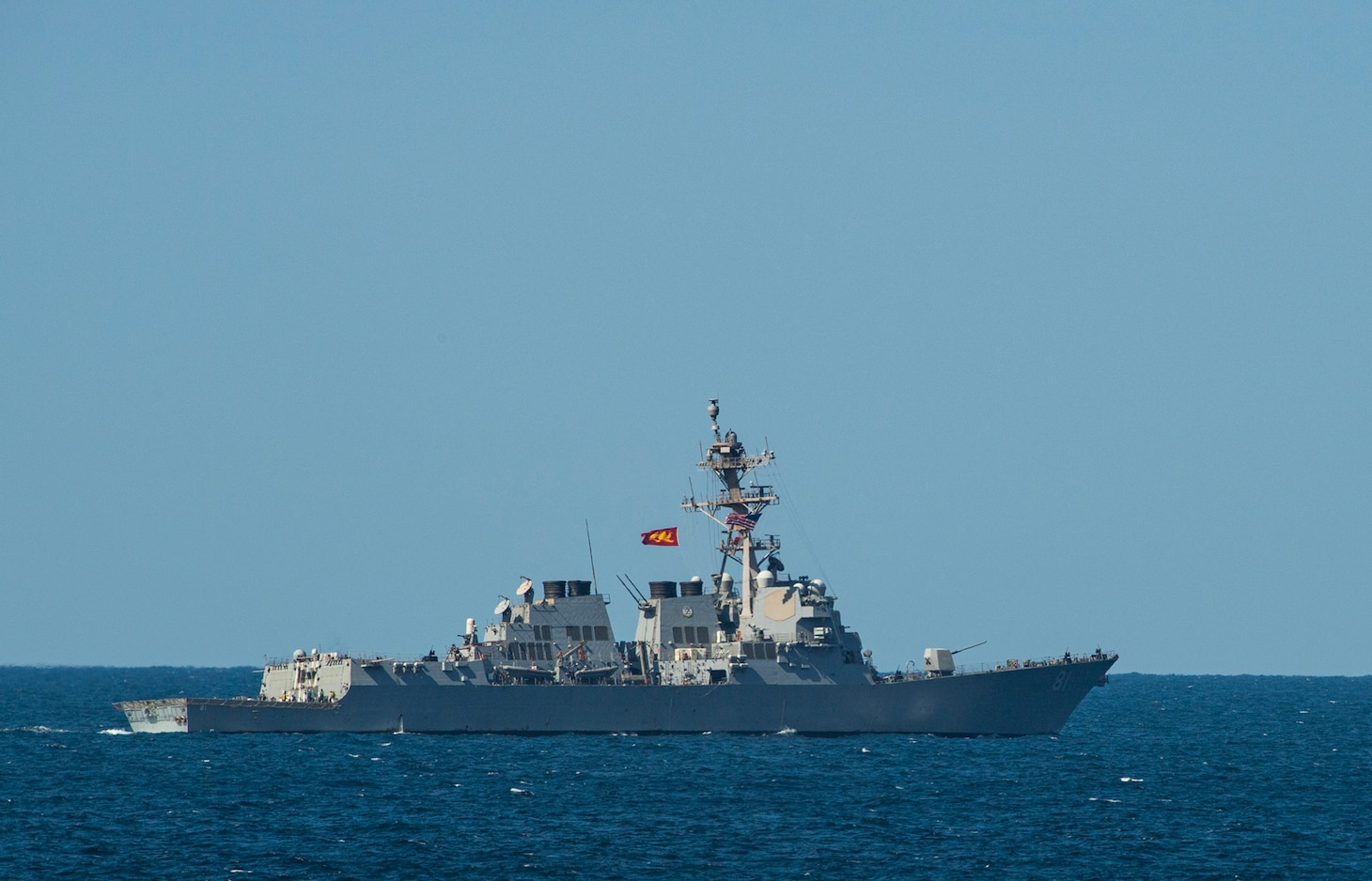 The guided-missile destroyer USS Winston S. Churchill (DDG 81) steams in the Arabian Sea.