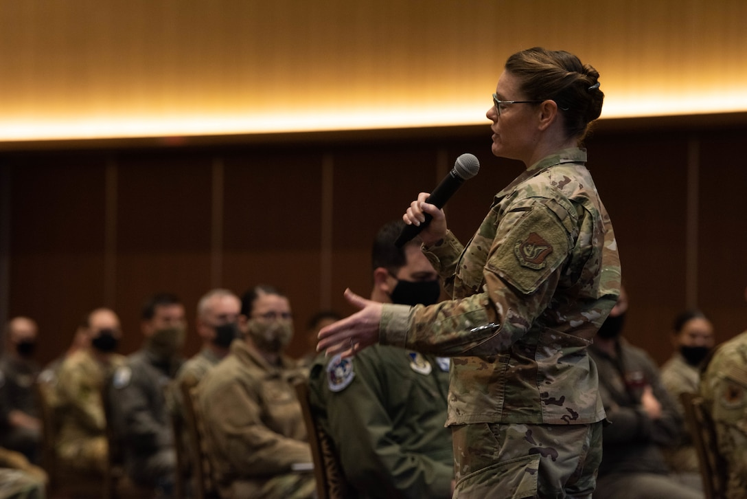 Chief Master Sgt. Jessica L. Bender, the 18th Wing command chief master sergeant, speaks to Airmen during an all-call at Kadena Air Base, Japan, Jan 7, 2021.  The all-call discussed resiliency, COVID, and pressing issues concerning the base. (U.S. Air Force Photo by Airman 1st Class Stephen Pulter)
