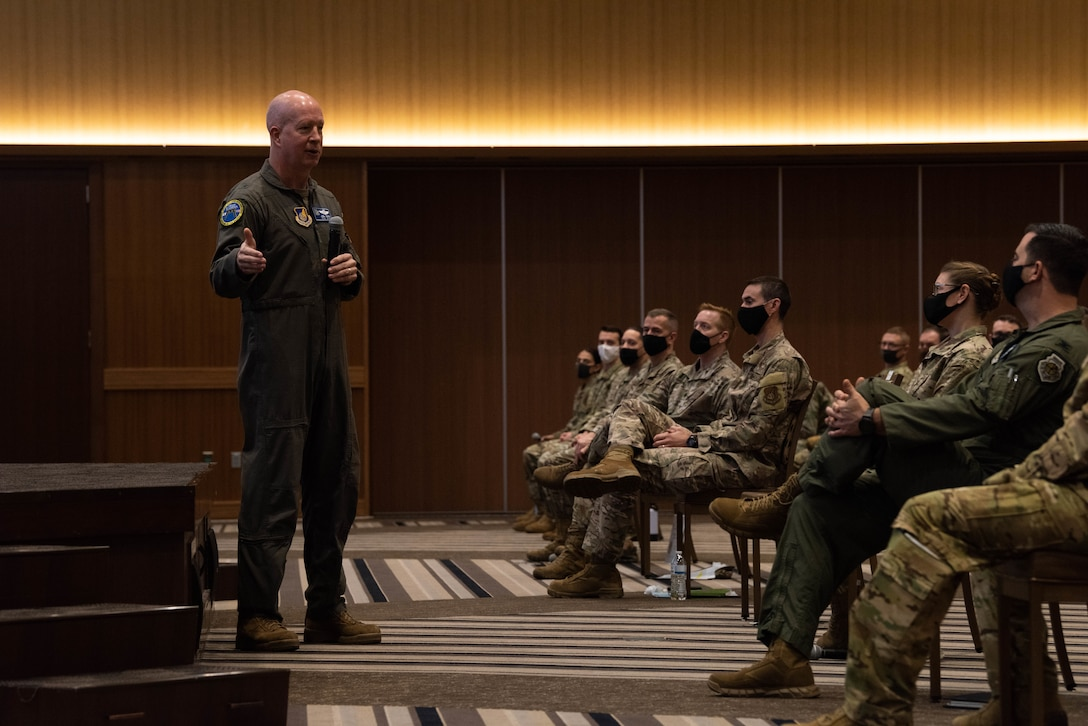 Brig. Gen. Joel L. Carey, the 18th Wing commander, speaks to Airmen during an all-call at Kadena Air Base, Japan, Jan 7, 2021.  The all-call discussed resiliency, COVID, and pressing issues concerning the base. (U.S. Air Force Photo by Airman 1st Class Stephen Pulter)