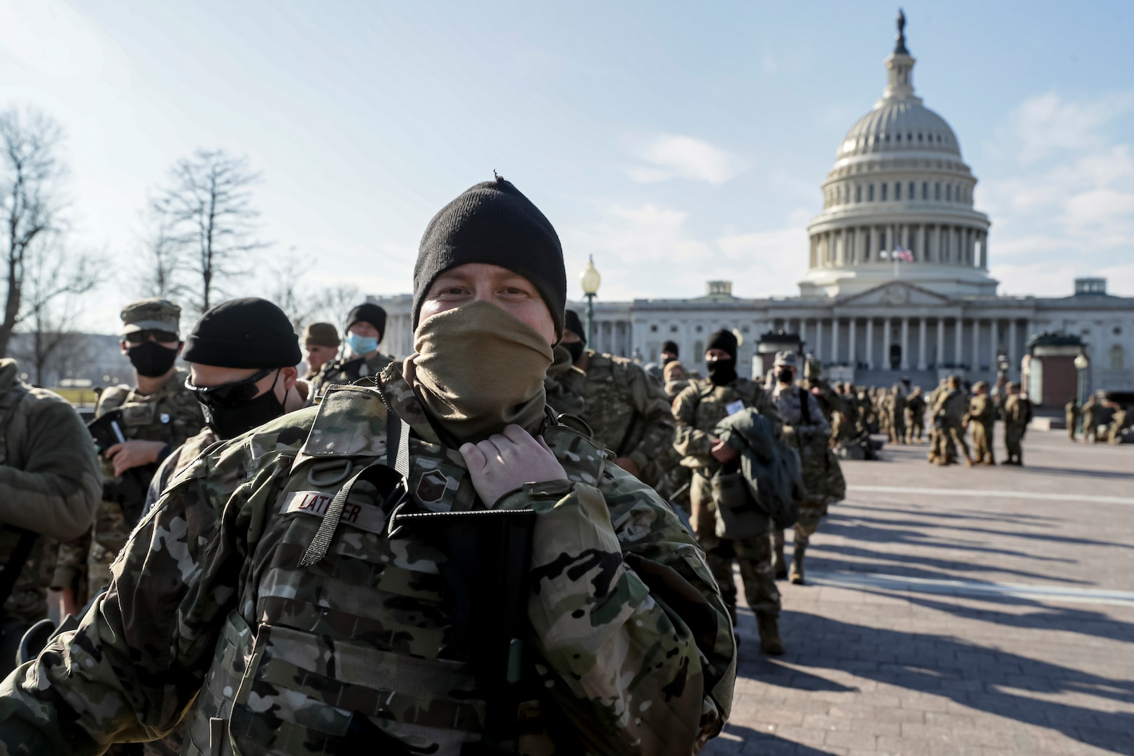 U.S. Air Force Master Sgt. Sean Latimer, a crew chief with the New Jersey National Guard's 177th Fighter Wing, stands in line after finishing a shift near the Capitol in Washington, D.C., Jan. 13, 2021. National Guard Soldiers and Airmen from multiple states have traveled to Washington to support to federal and district authorities for the inauguration of President-elect Joe Biden on Jan. 20.