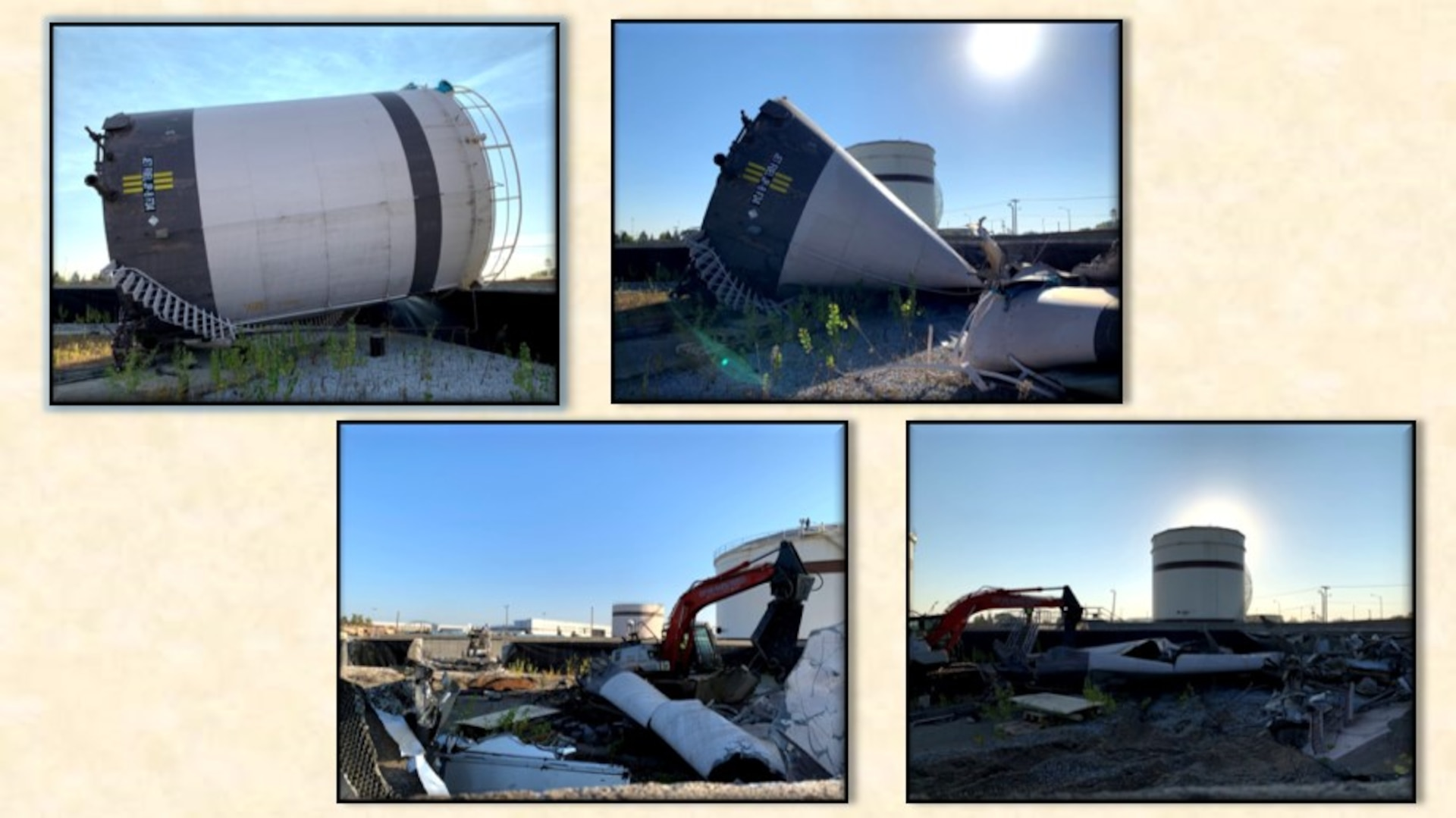four pictures of a fuel tank being demolished