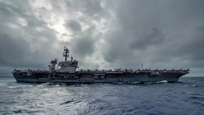 USS Theodore Roosevelt (CVN 71) transits the Pacific Ocean.