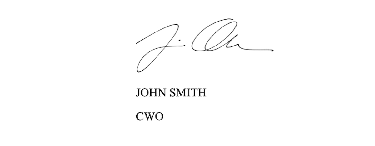 The signature section a sample AAR.  John Smith, CWO.
