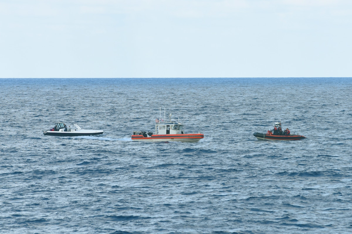 Two small boat teams from the USCGC Stone (WMSL 758) intercept a vessel on the Caribbean Sea that they suspect of engaging in illegal activity on Jan. 6, 2021.