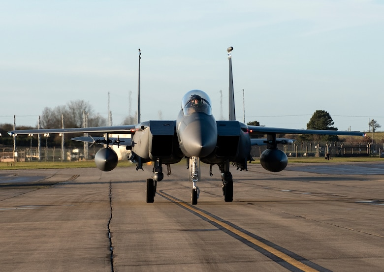 An F-15E Strike Eagle assigned to the 492nd Fighter Squadron returns from a sortie during Agile Combat Employment training at Royal Air Force Lakenheath, England, Jan. 12, 2021. Training incorporating ACE concepts contribute to the development of multi-capable Airmen and aircrew, improving interoperability and helping allies and partners increase their capabilities in less than optimal environments. (U.S. Air Force photo by Airman 1st Class Jessi Monte)