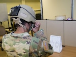 Maryland Army National Guard Soldiers test the Enhanced Night Vision Goggle - Binocular (ENVG-B) for both target identification and depth perception at the Army Research Lab - Human Resources and Engineering Directorate facility in Aberdeen Proving Ground, Maryland.