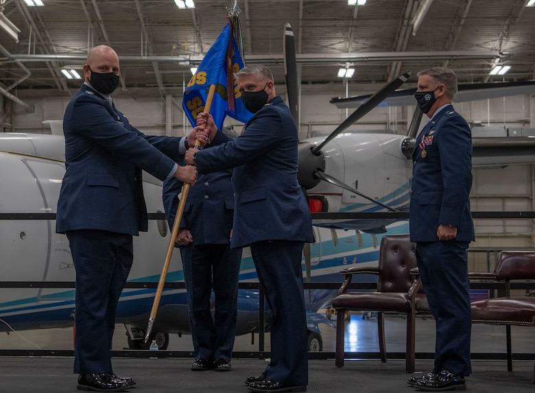 Lt. Col. Bret Murrell assumes command of the 859th Special operations Squadron from Lt. Col. Brendon Bartholomew at Duke Field, Florida on January 9, 2020.