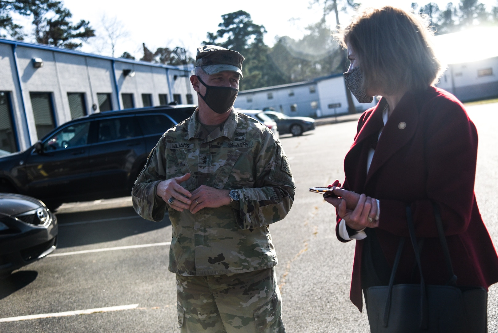 Virginia Deputy Secretary of Veterans and Defense Affairs Kathleen Jabs tours the Virginia National Guard's Army Aviation Support Facility alongside Maj. Gen. Timothy P. Williams, the Adjutant General of Virginia, Dec. 11, 2020, near the Richmond International Airport. The tour served to better familiarize the deputy secretary with the capabilities of the VNG's aviation assets, the support capabilities of the AASF, and the initiative to build a new facility.