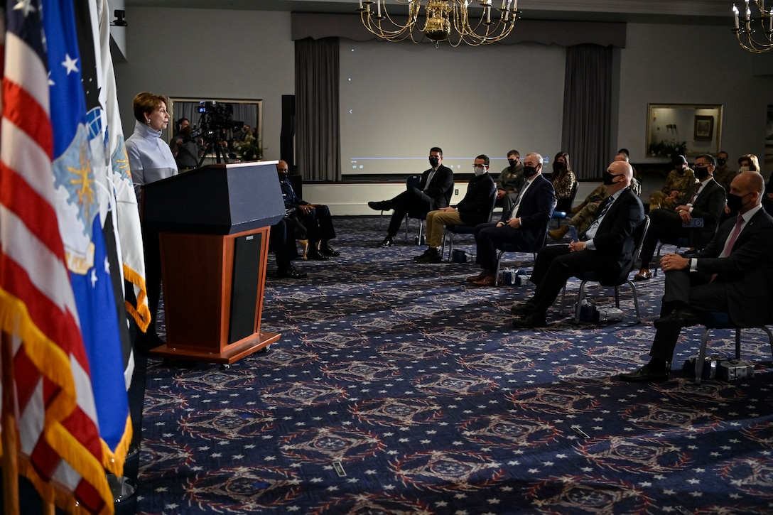 Secretary of the Air Force Barbara M. Barrett delivers remarks during her farewell ceremony at Joint Base Anacostia-Bolling, Washington, D.C., Jan. 14, 2021. As the 25th Secretary of the Air Force, Barrett was responsible for the welfare of more than 697,000 active duty, Guard, Reserve, and civilian Airmen and Guardians and their families. (U.S. Air Force photo by Eric Dietrich)