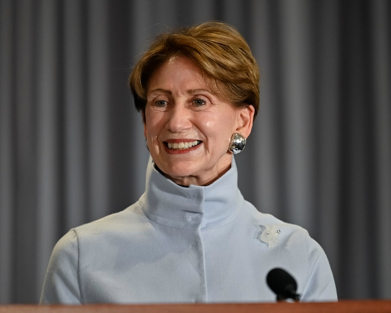Secretary of the Air Force Barbara M. Barrett delivers remarks during her farewell ceremony at Joint Base Anacostia-Bolling, Washington, D.C., Jan. 14, 2021. As the 25th Secretary of the Air Force, Barrett was responsible for the welfare of more than 697,000 active duty, Guard, Reserve, and civilian Airmen and Guardians and their families.(U.S. Air Force photo by Eric Dietrich)