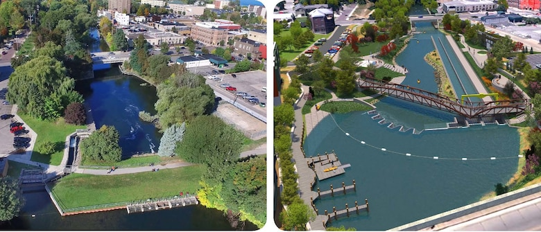 The design visual of before and after the FishPass project in Traverse City, Michigan is generated from engineering design plans and landscape details, is intended for illustrative purposes only.