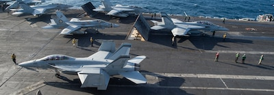 The aircraft carrier USS Nimitz (CVN 68) conducts flight operations in the North Arabian Sea.