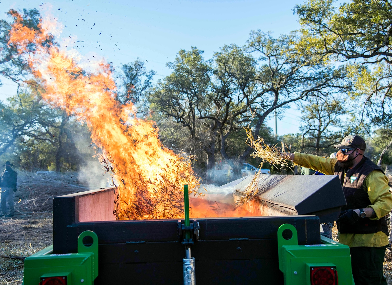 Work crews made up of members of the 802nd Civil Engineer Squadron, Joint Base San Antonio Natural Resources Office, Texas A&M Natural Resources Institute and the JBSA Wildland Support Module burned golden bamboo and cedar mulch