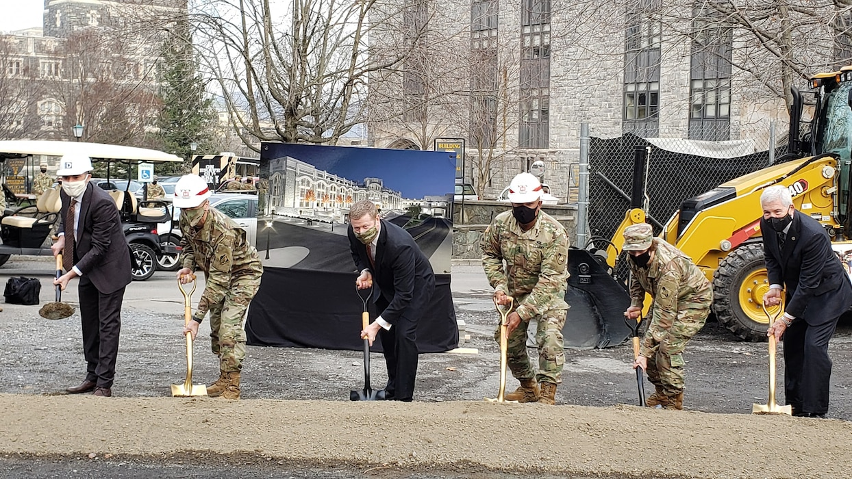 Lieutenant General Scott A. Spellmon, 55th Chief of Engineers and Commanding General of the U.S. Army Corps of Engineers, breaks ground on the new Cyber Engineering Academic Center Building at West Point, The U.S. Military Academy. (Dec. 11, 2020)