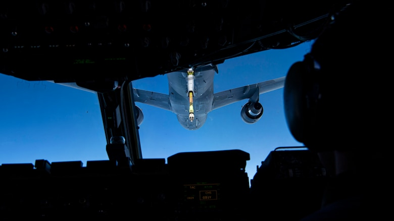 The KC-46 Pegasus refuels the legacy C-17 Globemaster III over the Atlantic Ocean to showcase the present and future of the Air Force, Jan. 15, 2021.