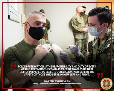 Senior leaders from Fleet Marine Force Atlantic receive the Coronavirus Disease 2019 (COVID-19) vaccine at Sewell's Point, Norfolk, Virginia, Jan. 15, 2021. Receiving the COVID-19 vaccine helps protect you, your family and your unit from infection, and ensures Marines and Sailors stay ready to accomplish the mission. (U.S. Marine Corps Photo Illustration by Jonathan Donnelly/Released)