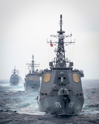 The Japan Maritime Self-Defense Force (JMSDF) Kongo-class guided-missile destroyer JS Kongo (DDG 173), front, Ticonderoga-class guided-missile cruiser USS Bunker Hill (CG 52), JMSDF Asahi-class destroyer JS Asahi (DD 119), and the Arleigh Burke-class guided-missile destroyer USS John Finn (DDG 113) transit the Pacific Ocean Jan. 15, 2021.
