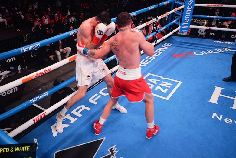 Air Force Reserve recruiting took part in the WBA Super World Super Middleweight Championship fight at the Alamodome in San Antonio, Dec. 19, 2020.