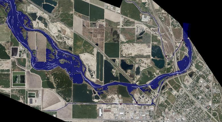 Caldwell Idaho 2017 flood model with aerial image background