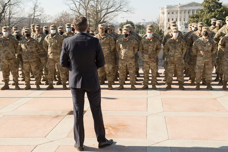 Virginia Governor visits troops protecting U.S. Capitol