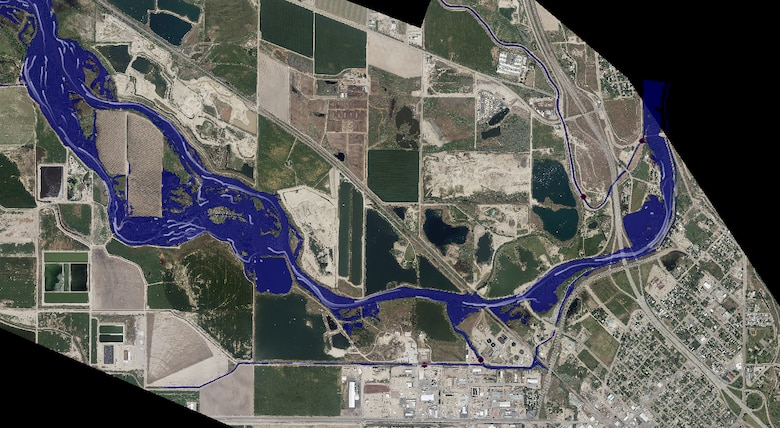 Caldwell Idaho 2017 flood model with aerial image background