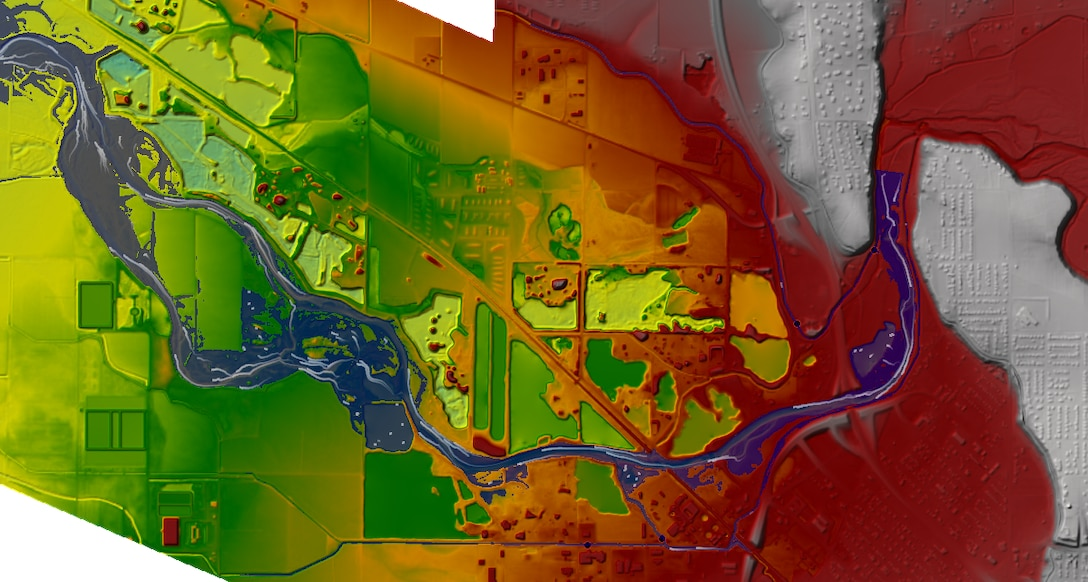 Caldwell Idaho 2017 flood model. Terrain Background