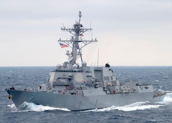 The Arleigh Burke-class guided-missile destroyer USS John Finn (DDG 113) transits the Pacific Ocean on Jan. 15, 2021.