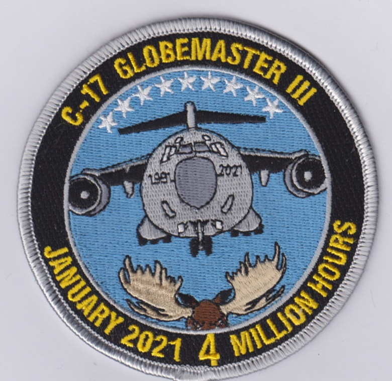 Kevin Torres, a section chief and avionics engineer in the C-17 Program Office, created a patch to commemorate the four million flight hour mark reached by the C-17 fleet in January of 2021. (Courtesy photo)