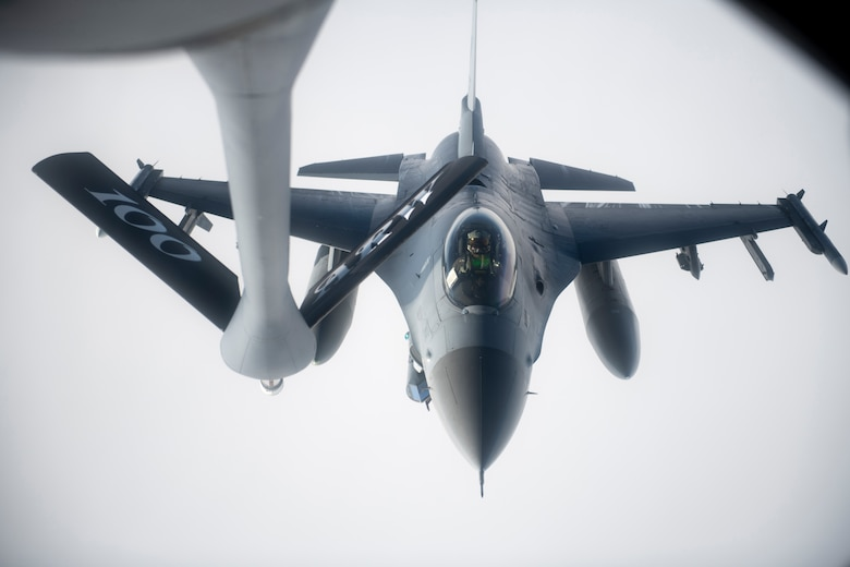 A U.S. Air Force F-16 Fighting Falcon assigned to the 555th Fighter Squadron, Aviano Air Base, Italy, approaches a KC-135 Stratotanker assigned to the 100th Air Refueling Wing, RAF Mildenhall, United Kingdom, before receiving fuel during a mission over the Black Sea, Jan. 14, 2021. U.S. military operations in the Black Sea enhance regional stability, combined readiness and capability with our NATO allies and partners.