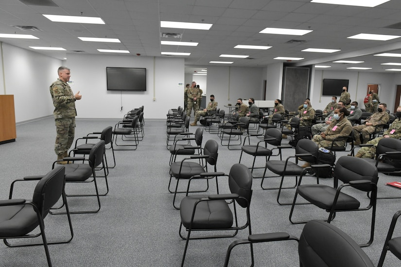 airmen sitting in classroom