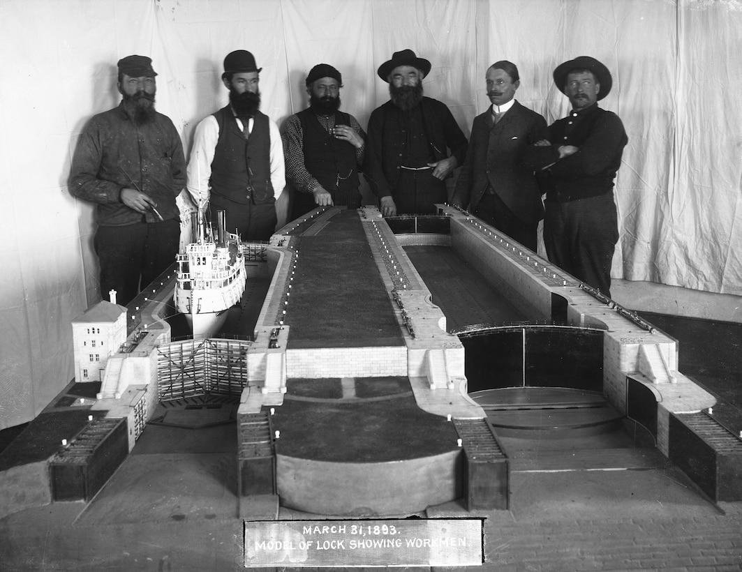 Model of original Poe Lock in Sault Ste. Marie, Michigan showing workmen from March 31,1893.