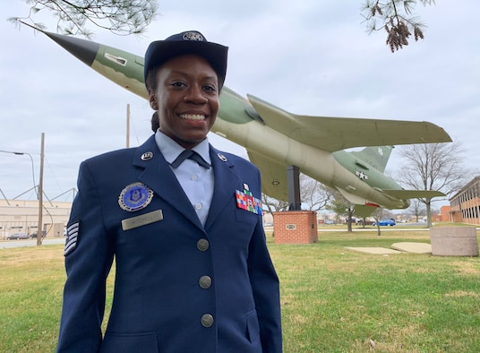 """Tech. Sgt. Autayvia Mitchell, a recruiter at Joint Base Andrews, Maryland, virtually sang the National Anthem for the U.S. Air Force Hispanic Games at the """"Fastest Track in the World"""" at The Armory New Balance Track & Field Center in New York, Jan. 9-10, 2021."""